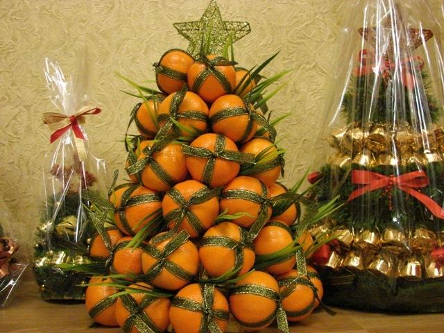 Как сделать ёлку из мандариновое