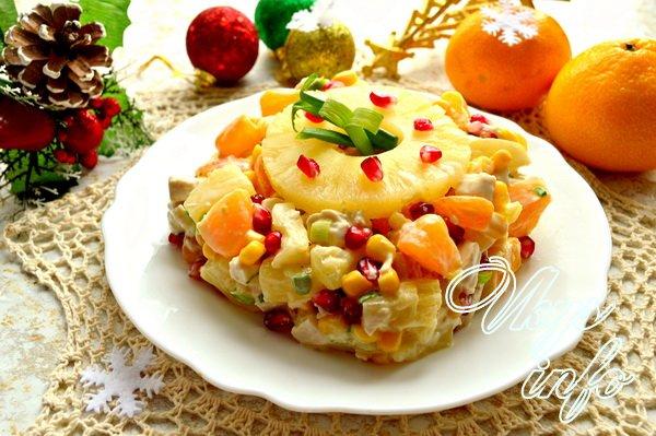 Салат новогодний с ананасом рецепт с