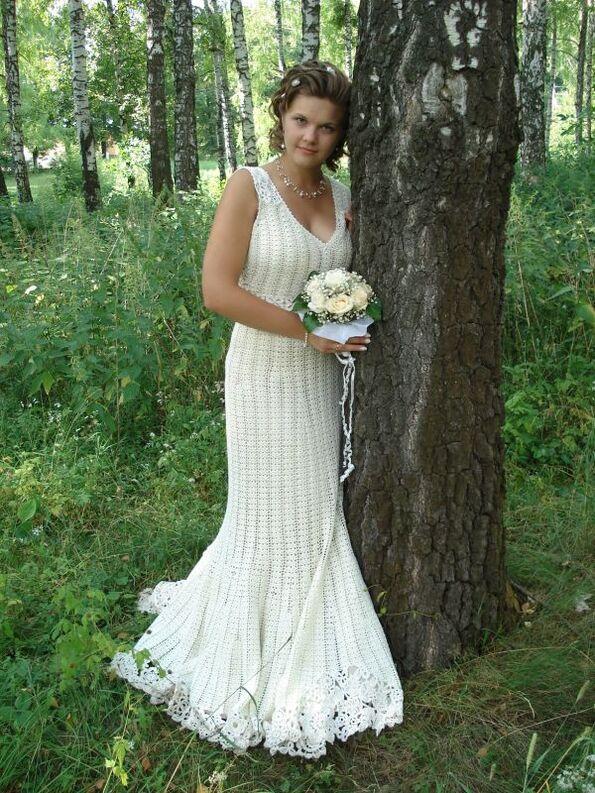 Свадебные вязаные крючком платья от Любы. Вязание свадебное Дом невест. схема и модели вязания спицами