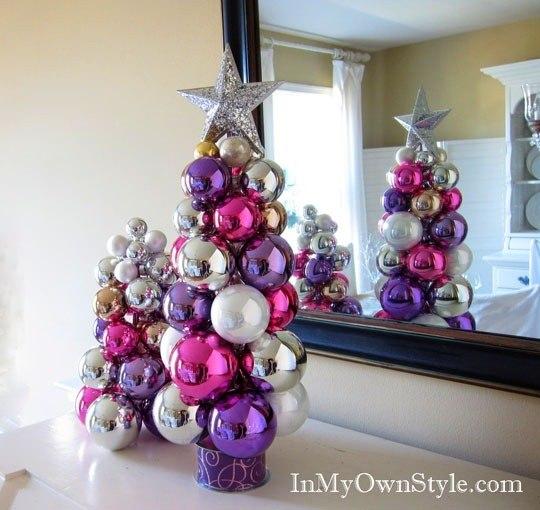 Новогодняя ёлка своими руками из шаров новогодних