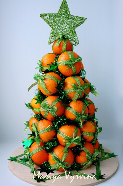 Елка из мандаринов своими руками на новый год