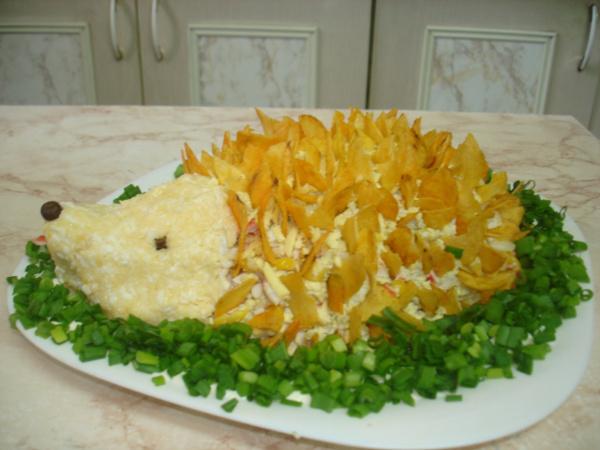 Салат ёжик с ананасом рецепт с