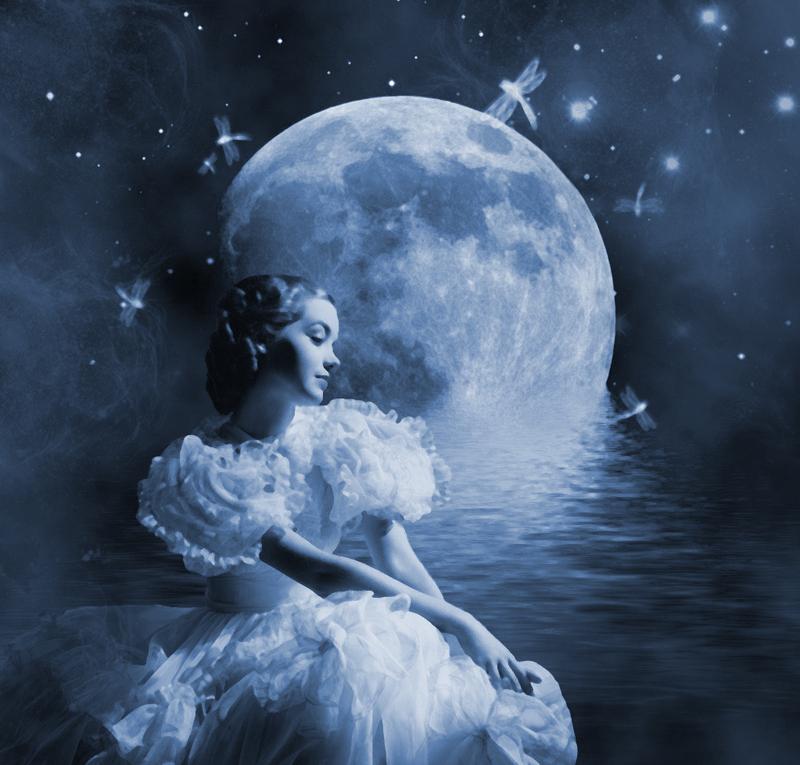 Картинки красивые, открытки девушка на луне